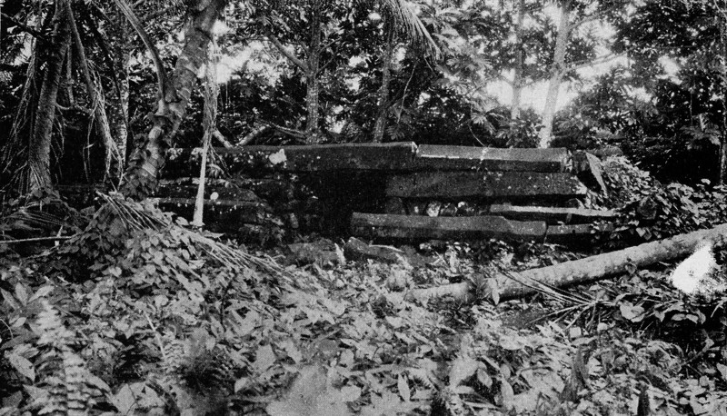 What appears to be an altar or tomb in the 'Sun Temple' on Nan Madol (Junius B. Wood, 1921)
