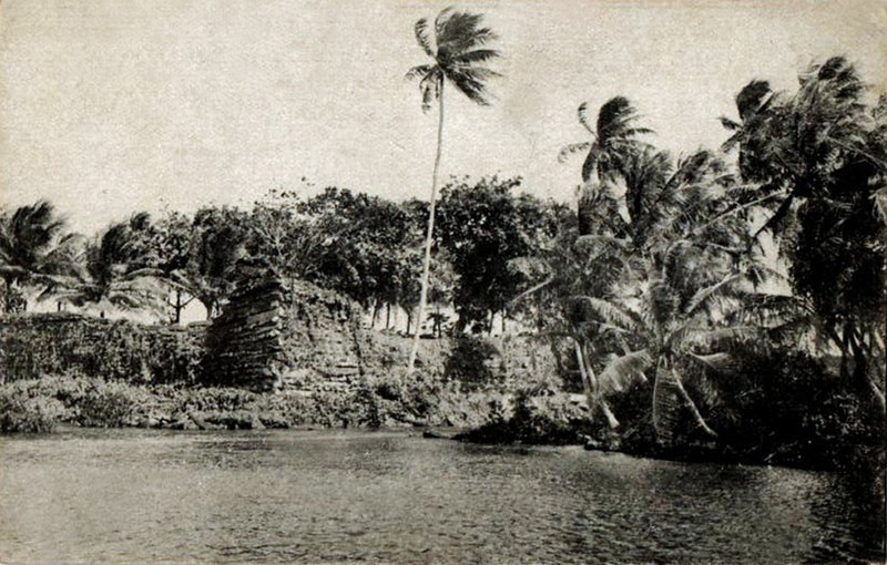 Vintage photograph showing a portion of the ruins at Nan Madol, Pohnpei, circa 1930