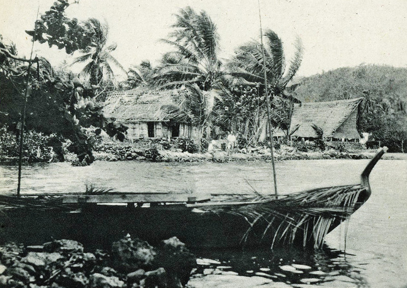 "From ""The Illustrated London News"" of 24 April 1937:  ""Showing the all-men-house (village hall and club) from which women are excluded (right background); a native home; and a canoe; a view in Yap."""