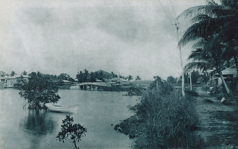 From early in the period of Japan's South Seas Mandate, a postcard photograph of a portion of Colonia and Chamorro Bay, about 1920
