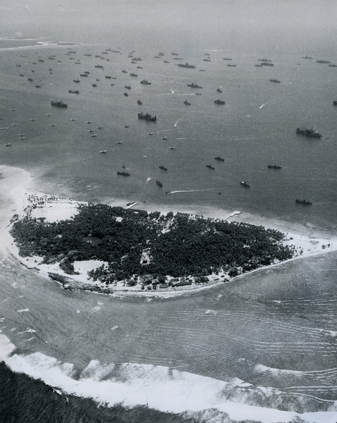 A small portion of the huge Ulithi lagoon, harboring scores of U.S. warships, freighters, and flying boats (U.S. Navy, National Archives)