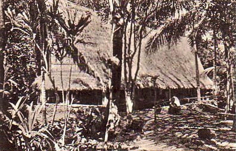 Photograph of a large meeting house on Yap from about 1900, the period of Germany's rule in Micronesia,
