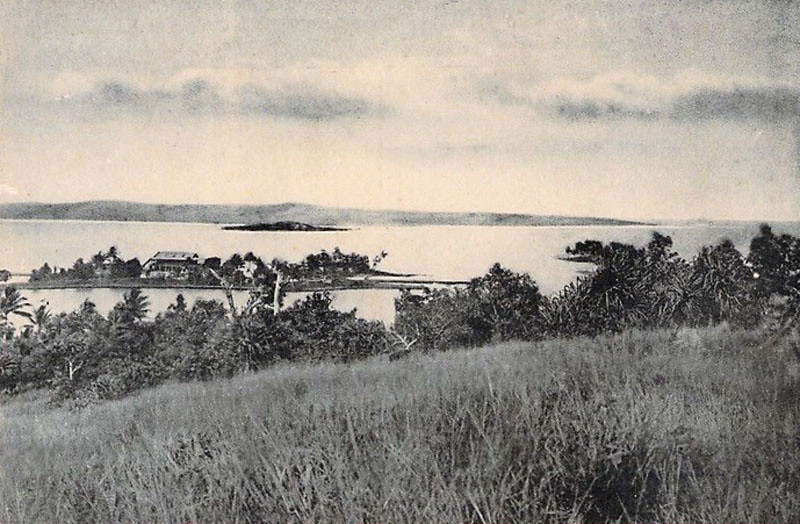 The third and final image in the vintage photographic triptych of Colonia, Yap, and its harbor (about 1930).