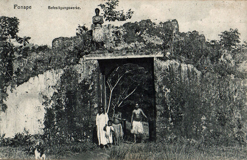 From the period of German rule in Micronesia, photograph of a portion of an old fortification wall, about 1910