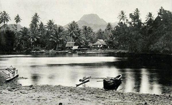 Kosrae, 1899:  Henry Clifford Fassett photograph of Fengal Village, Port Lottin