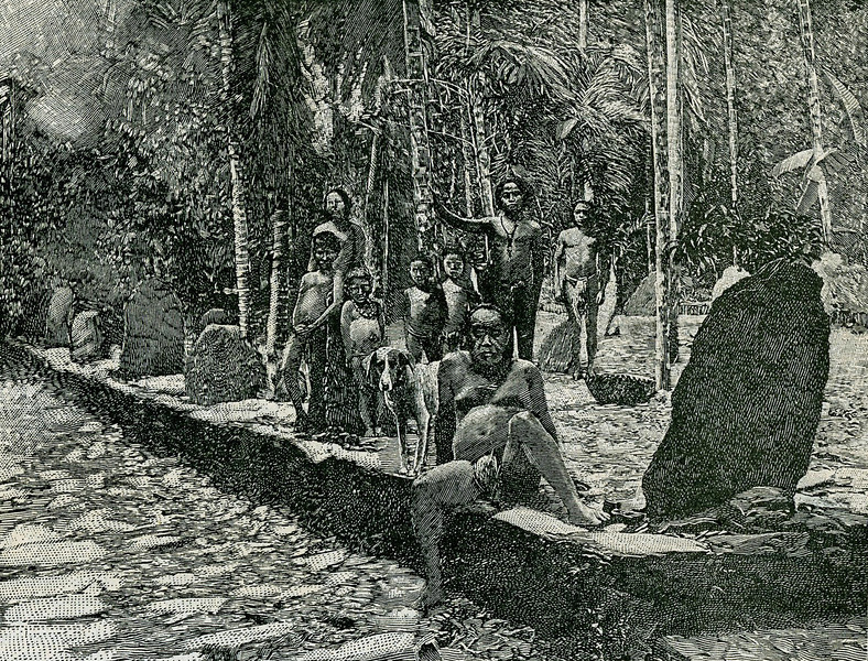 "This photographic drawing is from the ""Scientific American Supplement"" of 26 August 1899, with the caption: ""An assemblage of Yap Island natives.""  The image is also interesting for the open stone platform with surrounding standing stones."