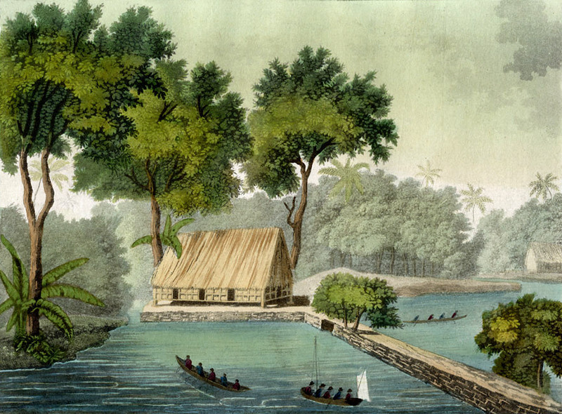 "An aquatint by Giulio Ferrario, engraved by Fumagalli, published in 1827 in Mlian.  The scene is a village on Ulong Island, southwest of Koror in the Palau Archipelago, where Captain Henry Wilson of the packet ship ""Antelope"" was shipwrecked in 1783."