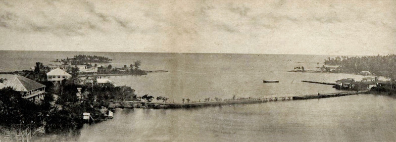 A very neat panoramic view the lower reaches of Colonia and Chamorro Bay, Yap, made by joing together two separate photos, circa 1929