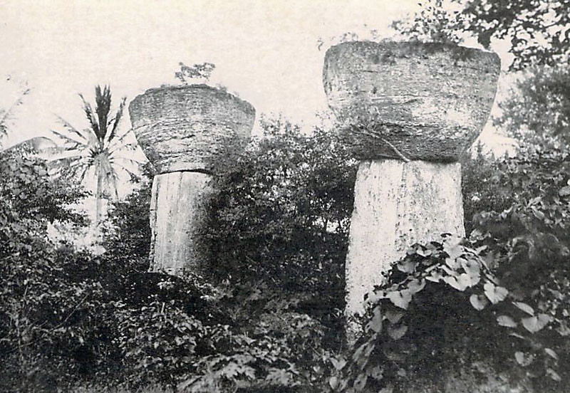 On Tinian, from the period of Japan's South Seas Mandate, a pair of ancient latte stones (about 1930)