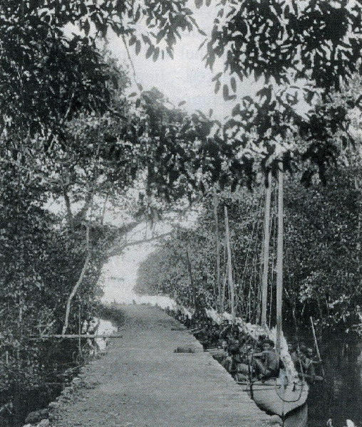 The Sangamus Canal and its landing stage in Koror (Augustin Kramer, 1909).  It is no longer in existence.