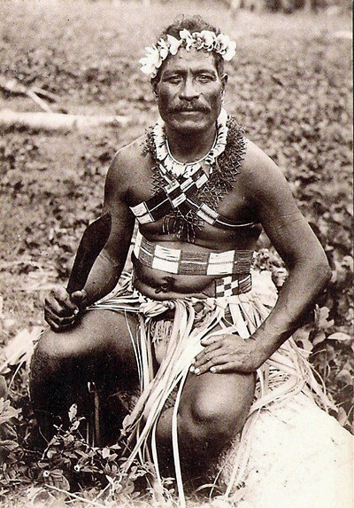 From the period of Japan's South Seas Mandate, a man in traditional dress on Saipan, about 1920