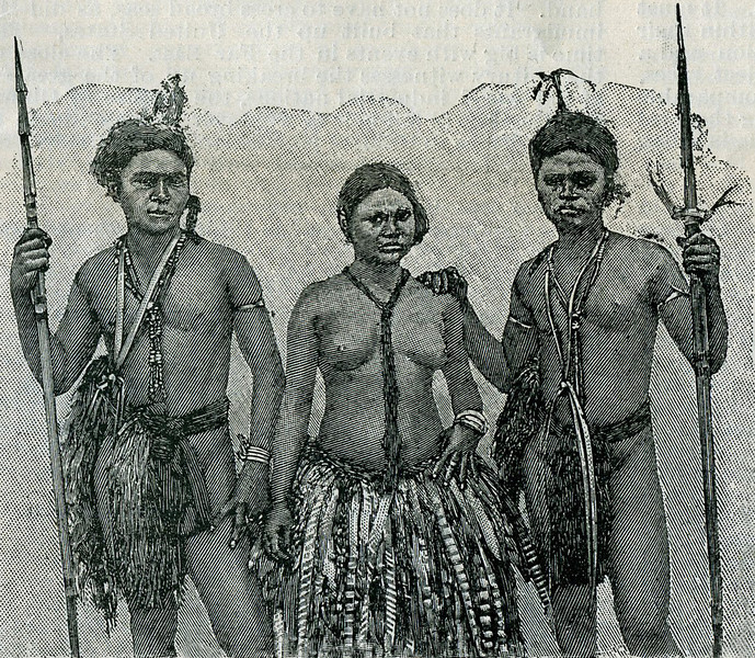 "This image of a Yapese woman and two men is from the ""Scientific American Supplement"" of 26 August 1899."