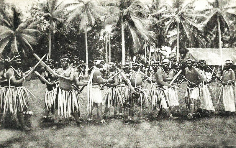 From about 1920, a men's stick dance on Pohnpei