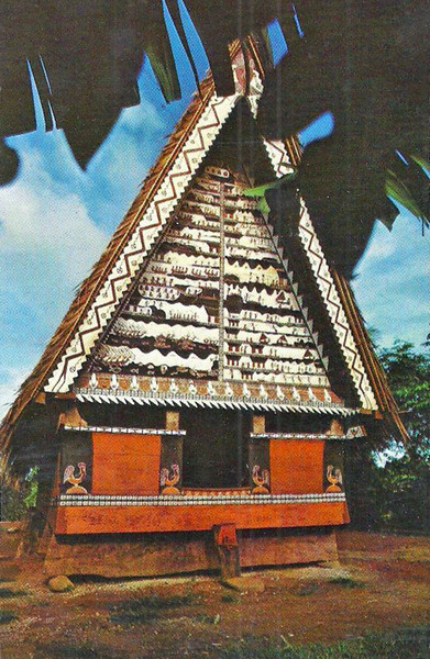 This photograph of a highly ornamented Palauan men's house on Koror was published in Germany by Richard Goff, sometime in the early 1930s.