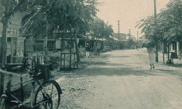 Postcard photograph from the period of Japan's South Seas Mandate:  A view of Koror's main street.