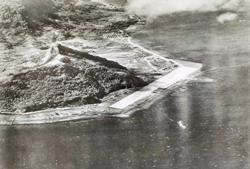 A Japanese airstrip on Moen (now 'Weno') Island in the Chuuk lagoon, March 1944, shortly before U.S. carrier-based Liberator attacks on such installations the following month.