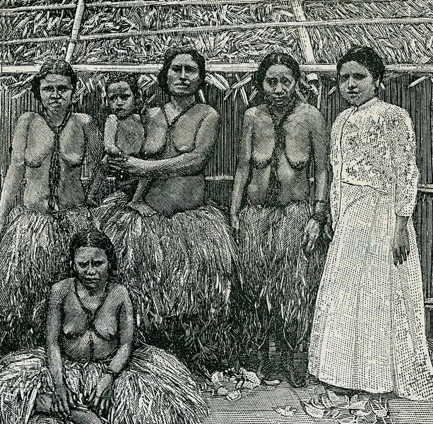 """A photographic drawing from the """"Scientific American Supplement"""" of 26 August 1899 shows four Yapese women in grass skirts (one woman holding an infant) and a planter's wife in Western dress."""