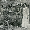 "A photographic drawing from the ""Scientific American Supplement"" of 26 August 1899 shows four Yapese women in grass skirts (one woman holding an infant) and a planter's wife in Western dress."