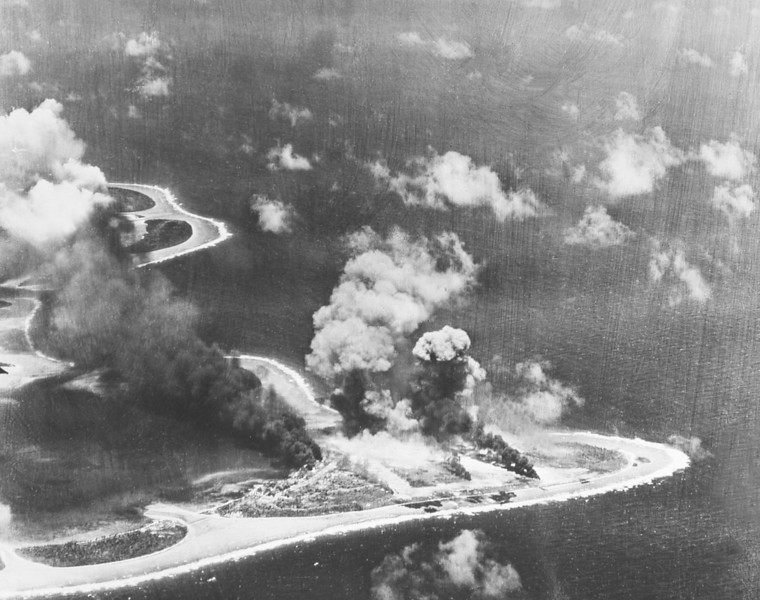 Another photograph of a U.S. attack on the Japanese airfield on Falalop, Woleai, in the late spring of 1944