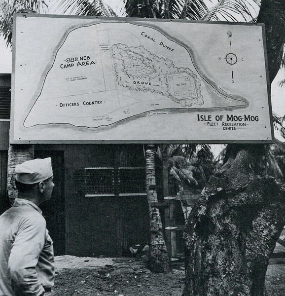"""A map of the """"Fleet Recreation Center"""" on Mogmog, showing different areas for officers, enlisted men, and the 88th Seabees Battalion (U.S. Navy, National Archives)"""