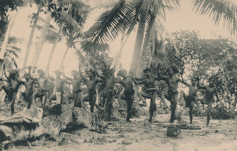 From the period of Japan's South Seas Mandate, a men's marching dance on Yap, about 1920