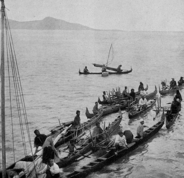 Outrigger canoes from Moen (Tonowas) in the Chuuk Lagoon, 1921 (Junius B. Wood)