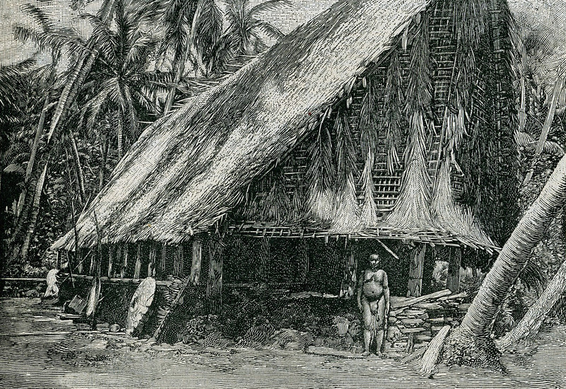 "This photographic drawing is from the ""Scientific American Supplement"" of 26 August 1899, with the caption: ""A native hut on Yap Island, showing stone money leaning against the right wall."""