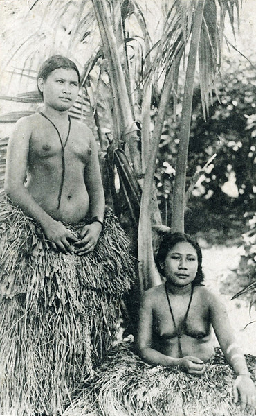 From the period of Japan's South Seas Mandate, two young Yapese women in traditional dress, about 1920