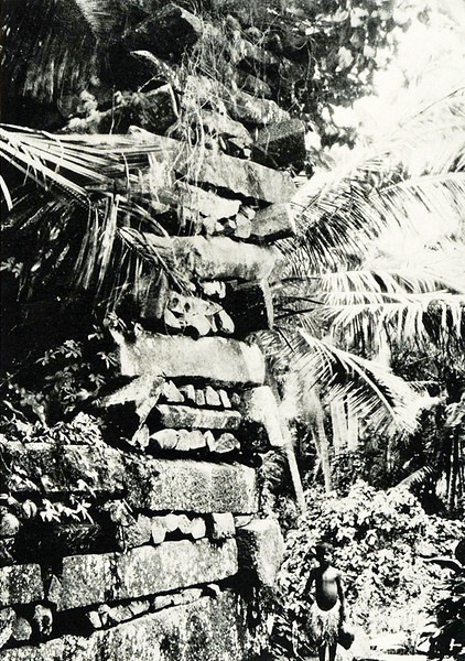 From the early 1920s, a photograph by Junius B. Wood, showing a boy standing by a corner one of the great walls at Nan Madol, Pohnpei.
