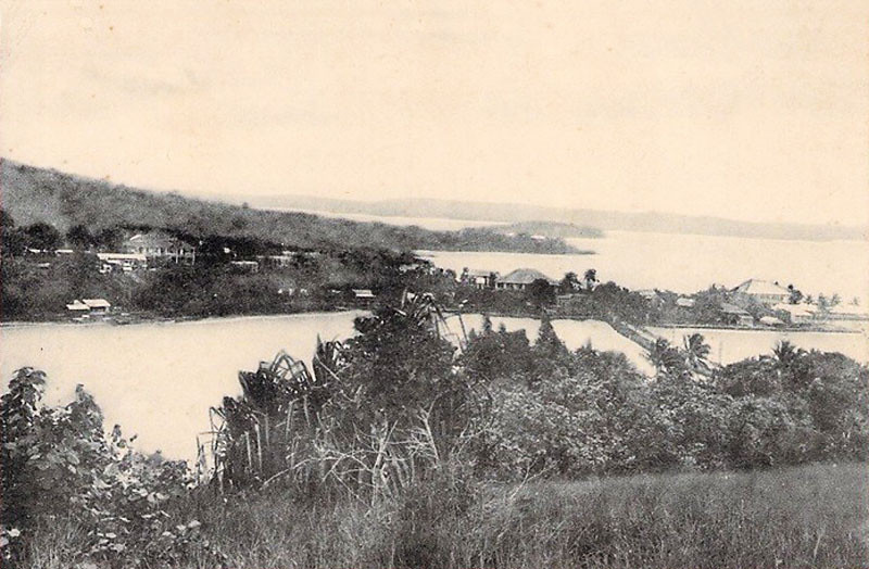 The second part of the vintage photographic triptych of Colonia, Yap, and its harbor (about 1930).