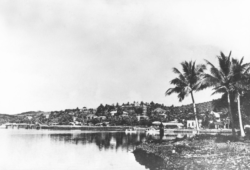 A view of the northern side of central Colonia on Yap, from the period of Japan's South Seas Mandate, about 1930