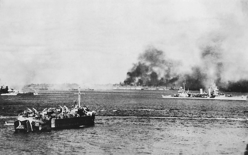 This U.S. Navy photograph was taken during the 11-16 September 1944 bombardment of Angaur, prior to U.S. troops going ashore to continue the battle for the island on 17 September.