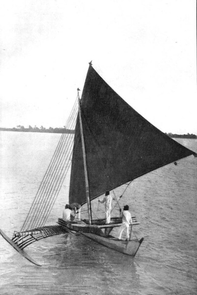 "Marshall Islands canoe under sail (from 'On Sea Charts Formerly Used in the Marshall Islands, with Notices on the Navigation of These Islanders in General' by Captain Winkler of the German Navy in ""Smithsonian Report, 1899"")"