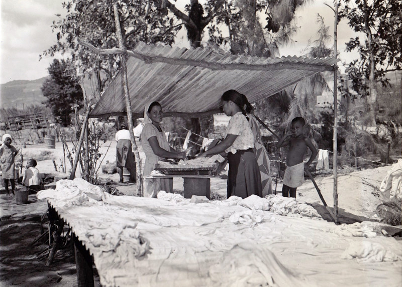 Women on Saipan doing laundry towards the end of World War II, 1944