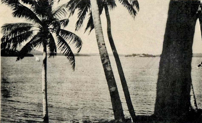 Photograph from the period of Japan's South Seas Mandate, showing the lower portion of Chamorro Bay in Colonia, from the Rull side looking northeast towards Tomil.  Barely visible, right of center, structures on Tarang Island, where Daniel Dean O'Keefe built a house and lived while on Yap.