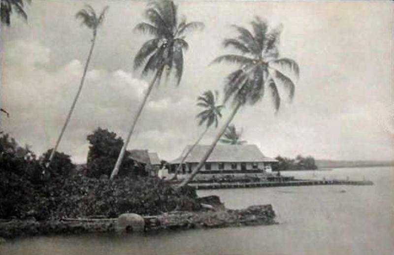 From the period of German rule in Micronesia, a Western-style building in what appears to be Chamorro Bay, looking northeast towards Gagil-Tomil.