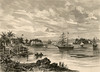 From an 1888 German periodical, a drawing of Yap's harbor (Tomil Bay), from a sketch by Hermann Groesser.  The caption beneath the drawing (not shown here) indicates that the four groups of buildings house the offices/businesses of (from left to right): Robertson and Hernsheim in Rull; the American trader Holcomb on Tagelau Island, the English trader O'Keefe on Tarang Island, and the German Trade and Plantation Association on Egnotich Island.
