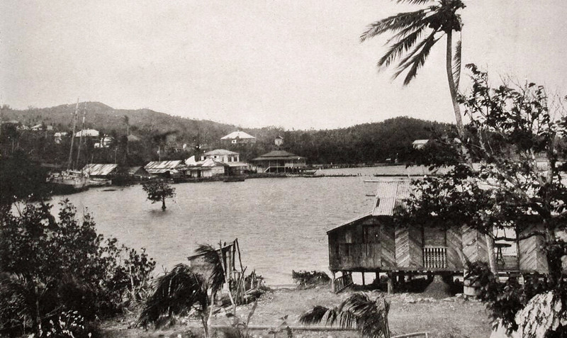 View of Colonia from the south, the upper reaches of Chamorro Bay, about 1930