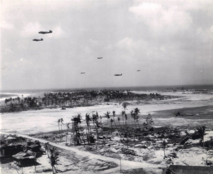 U.S. planes over Namur in the Kwajalein Atoll, shortly after the Battle of Kwajalein in February 1944