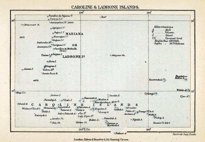 An 1879 lithograph map of the Mariana (Ladrone) Islands and the Caroline Islands (beginning here with Fais in the Western Carolines)