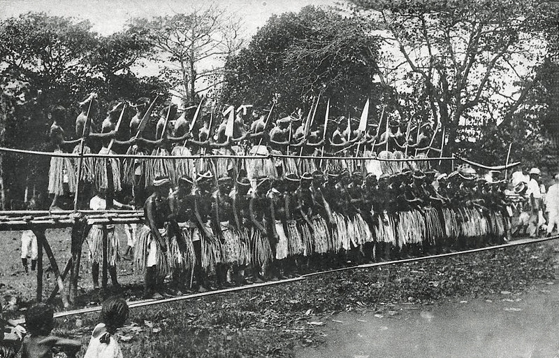 Men's standing dance on Pohnpei, about 1920