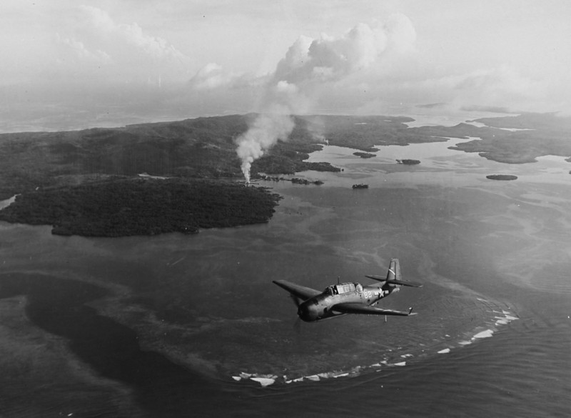 U.S. bomber over Yap, July 26, 1944 (United States Navy photograph)
