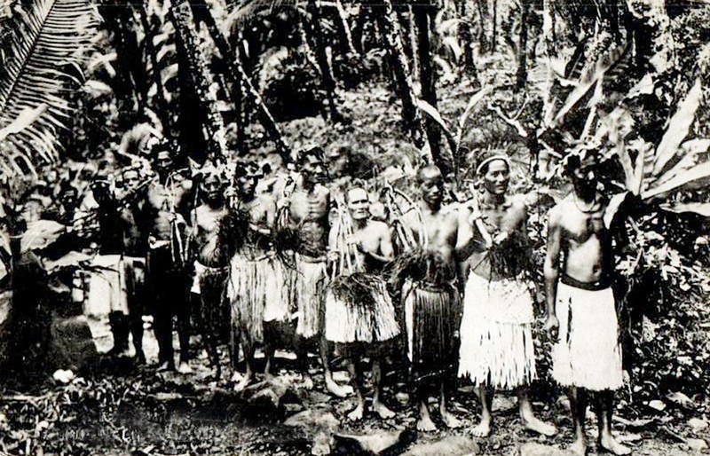 From the period of Japan's South Seas Manadate, a photograph of Pohnpeian men participating in a 'sakau' ceremony.