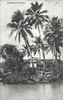 "A postcard photograph, circa 1910, from the period of German rule in Micronesia, showing a small Pohnpeian house on the lagoon.  ""Landschaft auf Ponape"" means ""a landscape [natural rather than cultivated or designed] on Ponape."""