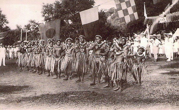 Men performing a traditional dance for a celebration on Saipan, about 1920