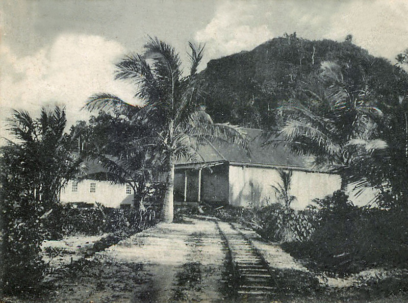 From the period of Germany's rule in Micronesia, a photo of the warehouses of the Jaluit Gesellschaft on Pohnpei, about 1910