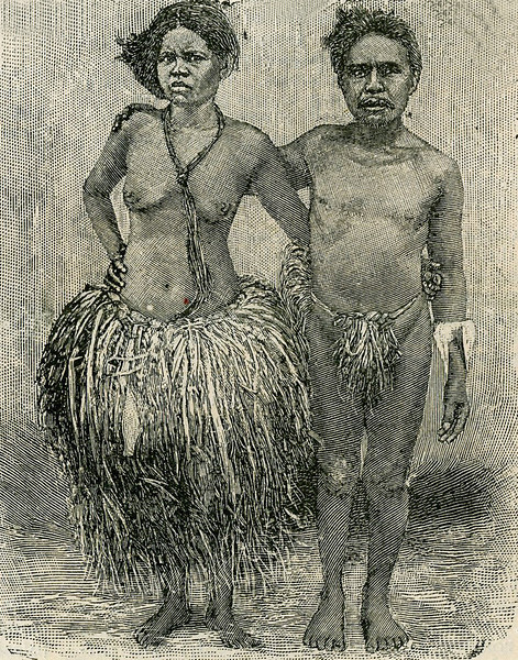 "This image is from the ""Scientific American Supplement"" of 26 August 1899, with the caption: ""Man and wife on Yap Island."""