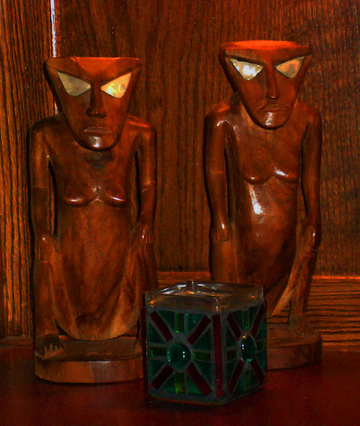 Another, more focused view of the squatting figures, handcarved in the Outer Islands of Yap State sometime around 1969.  The figures are 9-1/2 inches tall.