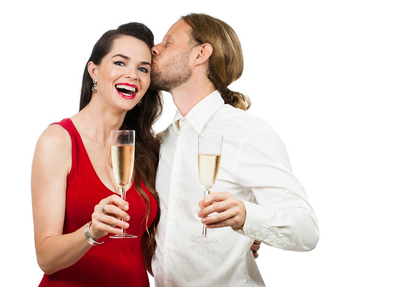 Happy couple with Champagne
