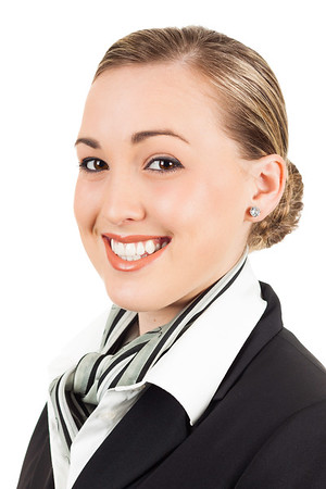 Happy young air hostess
